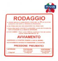Etichetta Adesivo Rodaggio Piaggio Vespa Rally VSD1T - VSE1T
