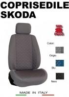 Coprisedili Anteriore Tessuto in Cotone Trapuntato per Auto SKODA con AIRbag mod. TURBO 2Pz.
