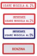 Etichetta Adesivo Miscela o Benzina Piaggio Vespa Confezione 10 Pz.
