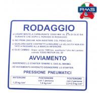 Etichetta Adesivo Rodaggio Blu Piaggio Vespa 50 90 125 Primavera ET3 - V5A - V5B - V9A1 - VMA2 - VMB1 - VMX1T