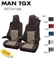 Coprisedili OLD STYLE Ecopelle Trapuntato per Camion MAN TGX Restyling dal 2021