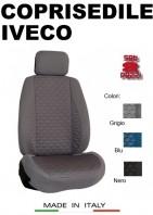 Coprisedili Anteriore Tessuto in Cotone Trapuntato per Auto IVECO con AIRbag mod. TURBO 2Pz.