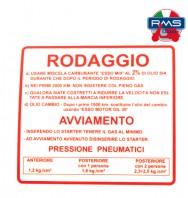 Etichetta Adesivo Rodaggio Piaggio Vespa 50 90 125 Primavera ET3 - V5A - V5B - V9A1 - VMA2 - VMB1 - VMX1T