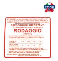 Etichetta Adesivo Rodaggio Piaggio Vespa GS 150 - VS