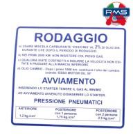 Etichetta Adesivo Rodaggio Blu Piaggio Vespa Rally 180 200 VSD1T - VSE1T