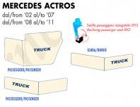 Coprisupporti Sedile (guida+passeggero) per Camion Mercedes ACTROS dal 2002 al 2011 con/senza Sedile Passeggero Ripiegabile