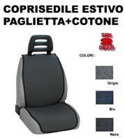 Coprisedili Auto Estivi Antisudore a Striscia in Paglietta e Cotone Reversibili TROPICAL 2 Pz.